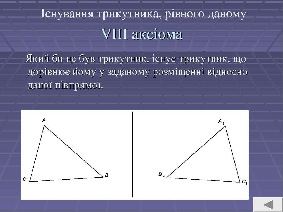 VIII аксіома Який би не був трикутник, існує трикутник, що дорівнює йому у за...