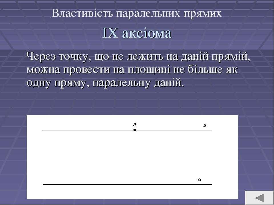 ІХ аксіома Через точку, що не лежить на даній прямій, можна провести на площи...