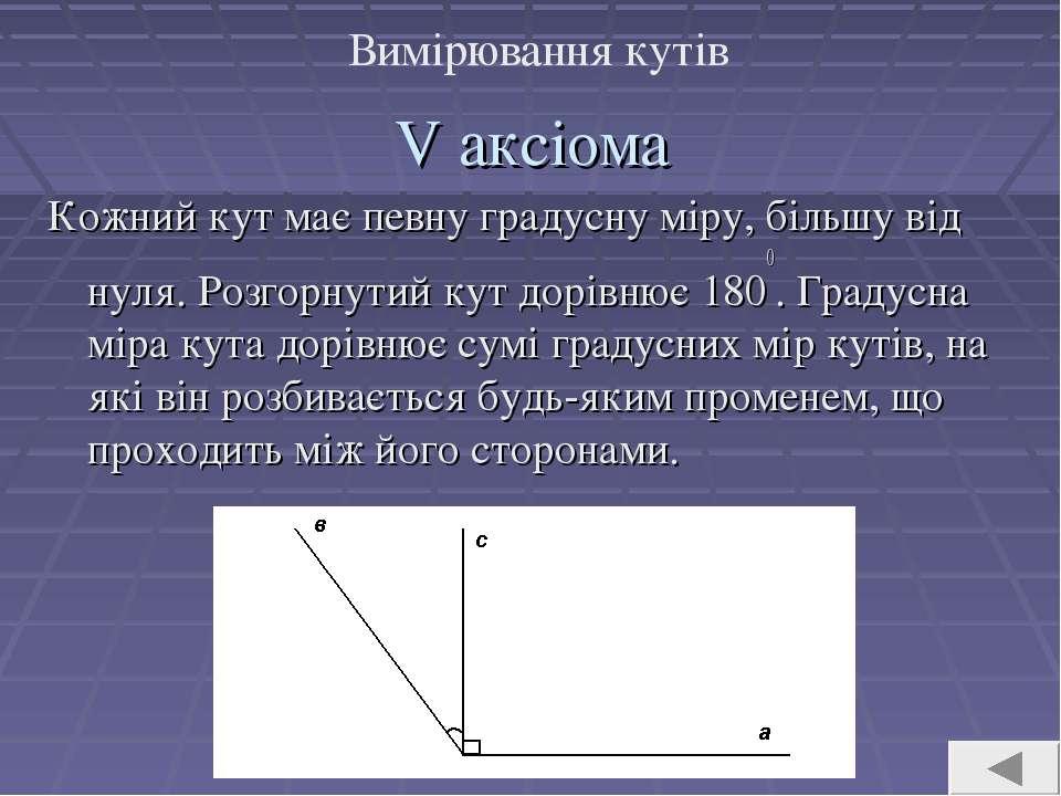 V аксіома Кожний кут має певну градусну міру, більшу від нуля. Розгорнутий ку...