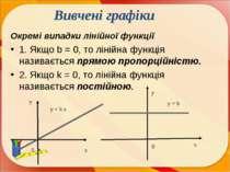 Окремі випадки лінійної функції 1. Якщо b = 0, то лінійна функція називається...