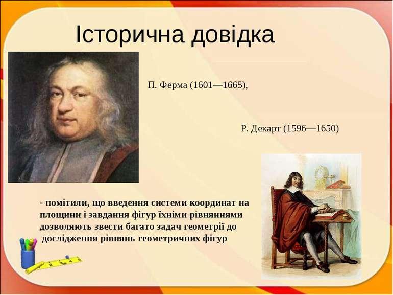 Історична довідка П. Ферма (1601—1665), Р. Декарт (1596—1650) - помітили, що ...