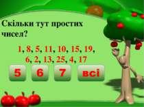 Скільки тут простих чисел? 1, 8, 5, 11, 10, 15, 19, 6, 2, 13, 25, 4, 17