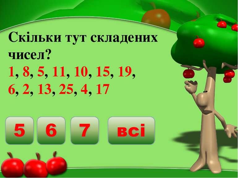 Скільки тут складених чисел? 1, 8, 5, 11, 10, 15, 19, 6, 2, 13, 25, 4, 17