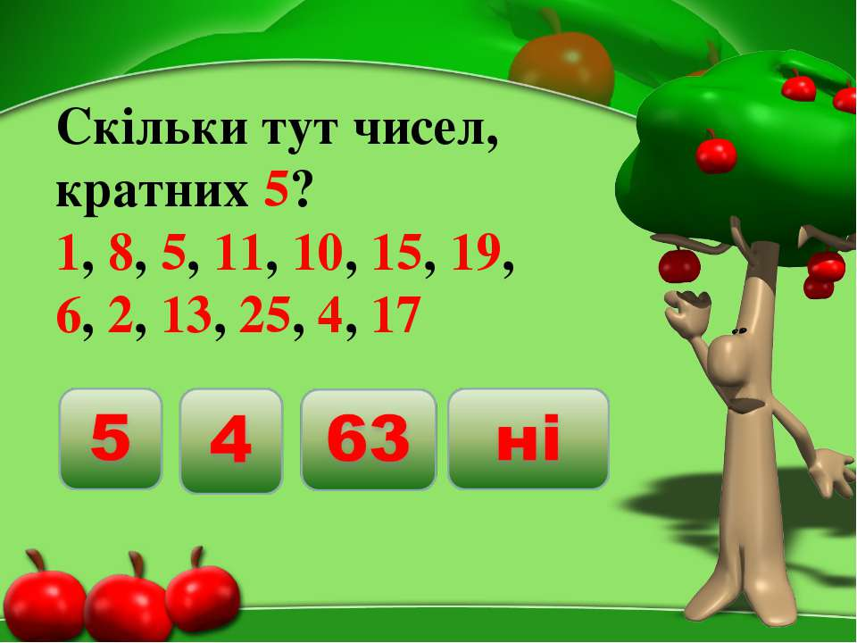 Скільки тут чисел, кратних 5? 1, 8, 5, 11, 10, 15, 19, 6, 2, 13, 25, 4, 17