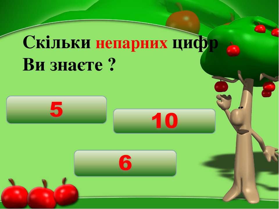 Скільки непарних цифр Ви знаєте ?