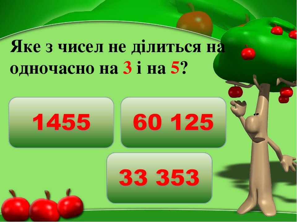 Яке з чисел не ділиться на одночасно на 3 і на 5?