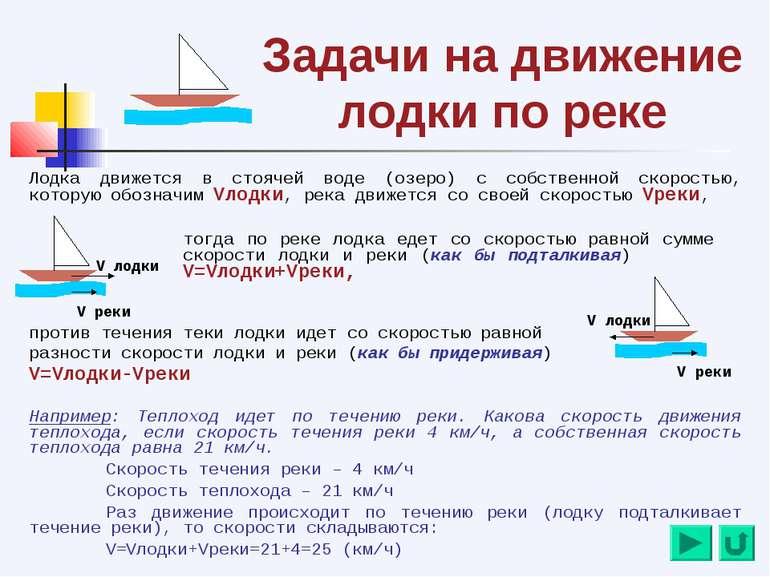 Задачи на движение лодки по реке Лодка движется в стоячей воде (озеро) с собс...