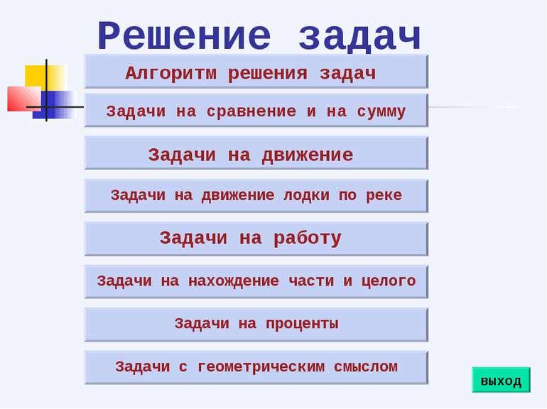 Решение задач Алгоритм решения задач Задачи на сравнение и на сумму Задачи на...