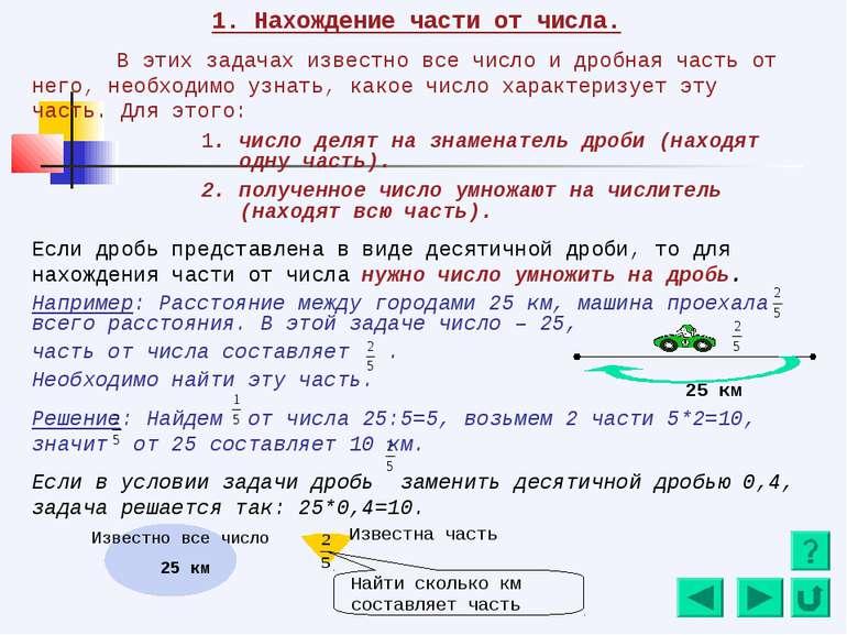 1. Нахождение части от числа. В этих задачах известно все число и дробная час...