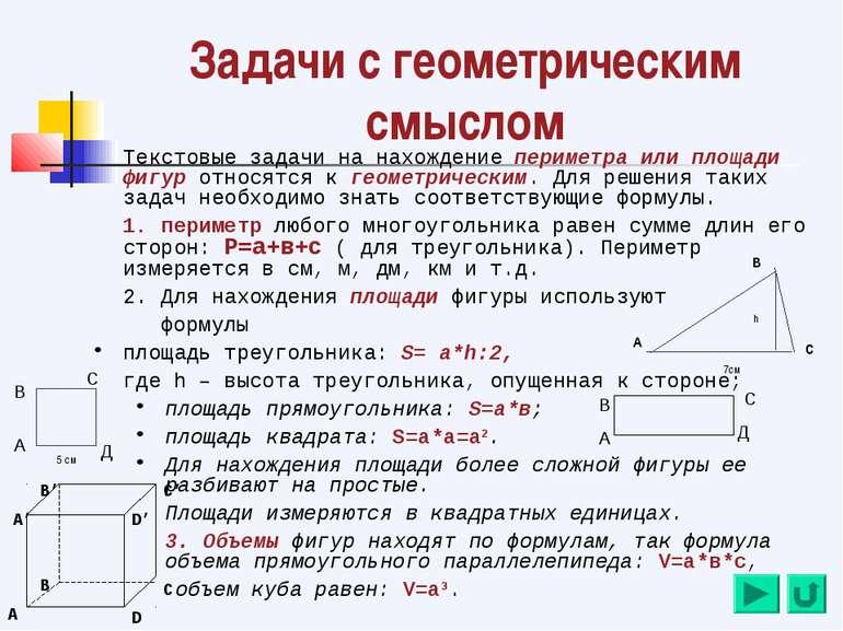 Задачи с геометрическим смыслом Текстовые задачи на нахождение периметра или ...