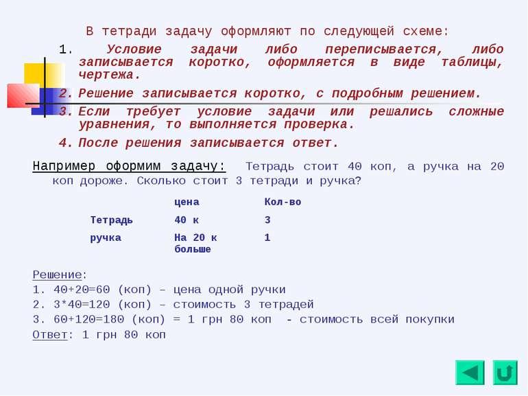 В тетради задачу оформляют по следующей схеме: Условие задачи либо переписыва...