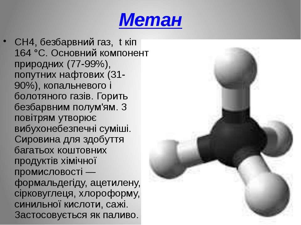 Метан CH4, безбарвний газ, t кіп 164 °C. Основний компонент природних (77-99%...