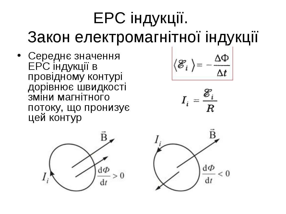 ЕРС індукції. Закон електромагнітної індукції Середнє значення ЕРС індукції в...