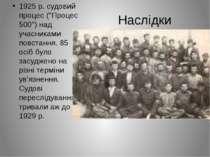 """Наслідки 1925 р. судовий процес (""""Процес 500"""") над учасниками повстання. 85 о..."""