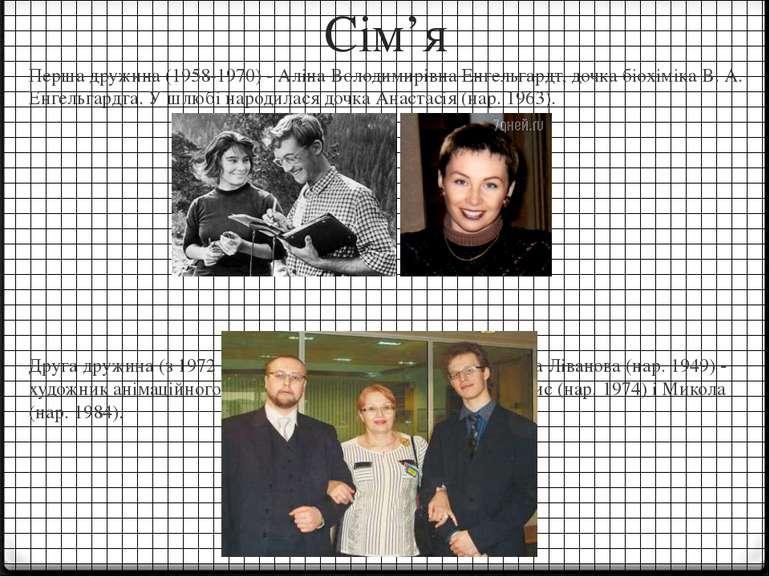 Сім'я Перша дружина (1958-1970) - Аліна Володимирівна Енгельгардт, дочка біох...