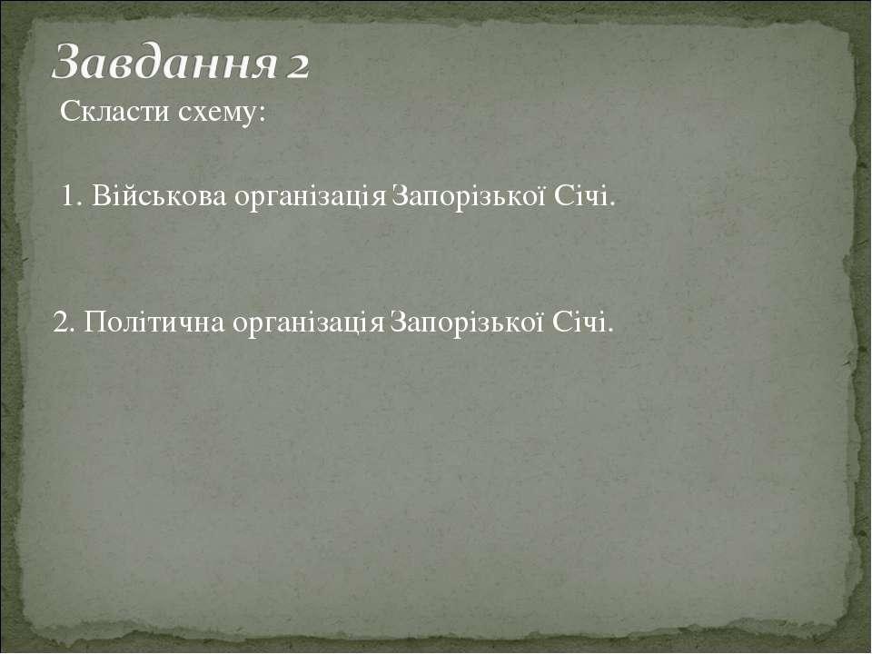 Скласти схему: 1. Військова організація Запорізької Січі. 2. Політична органі...