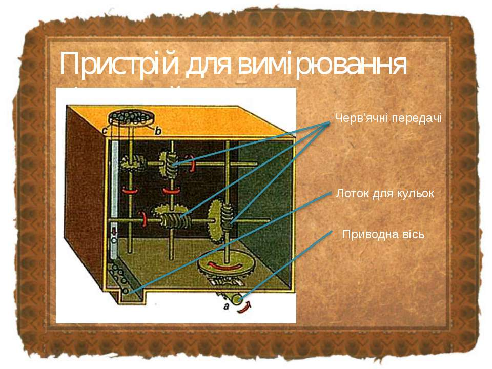 Пристрій для вимірювання відстаней Черв'ячні передачі Лоток для кульок Привод...