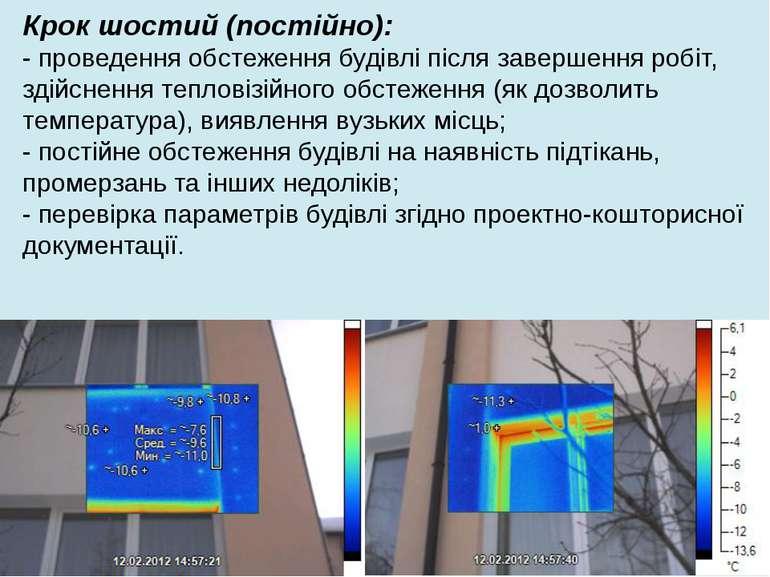Крок шостий (постійно): - проведення обстеження будівлі після завершення робі...
