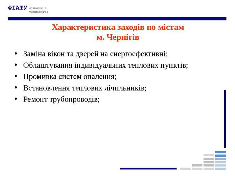 Характеристика заходів по містам м. Чернігів Заміна вікон та дверей на енерго...