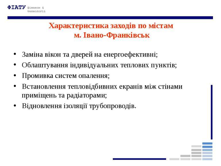 Характеристика заходів по містам м. Івано-Франківськ Заміна вікон та дверей н...