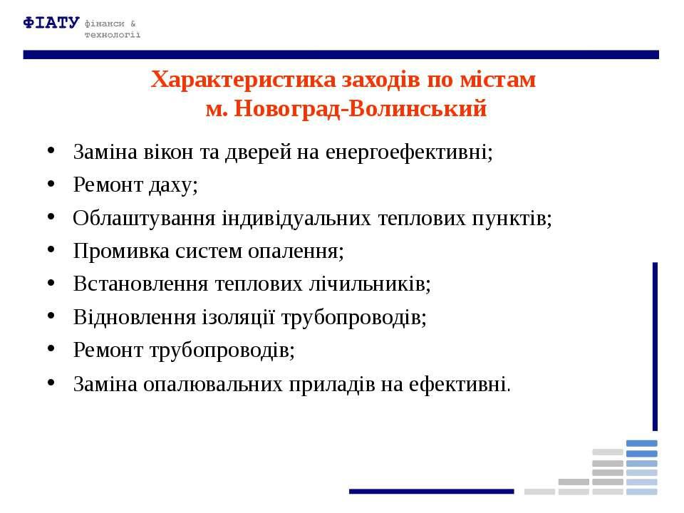 Характеристика заходів по містам м. Новоград-Волинський Заміна вікон та двере...