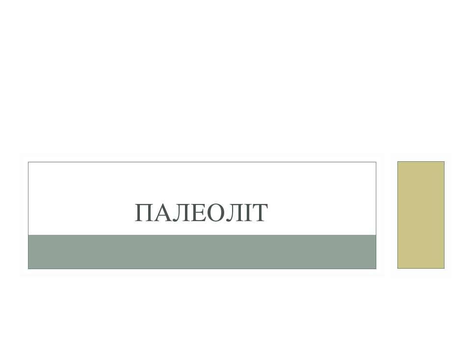 ПАЛЕОЛІТ