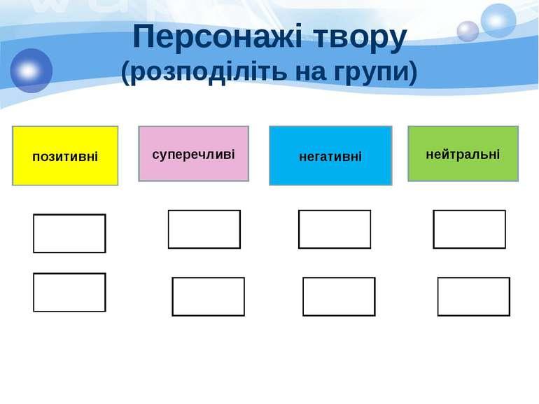 Персонажі твору (розподіліть на групи) позитивні суперечливі негативні нейтра...