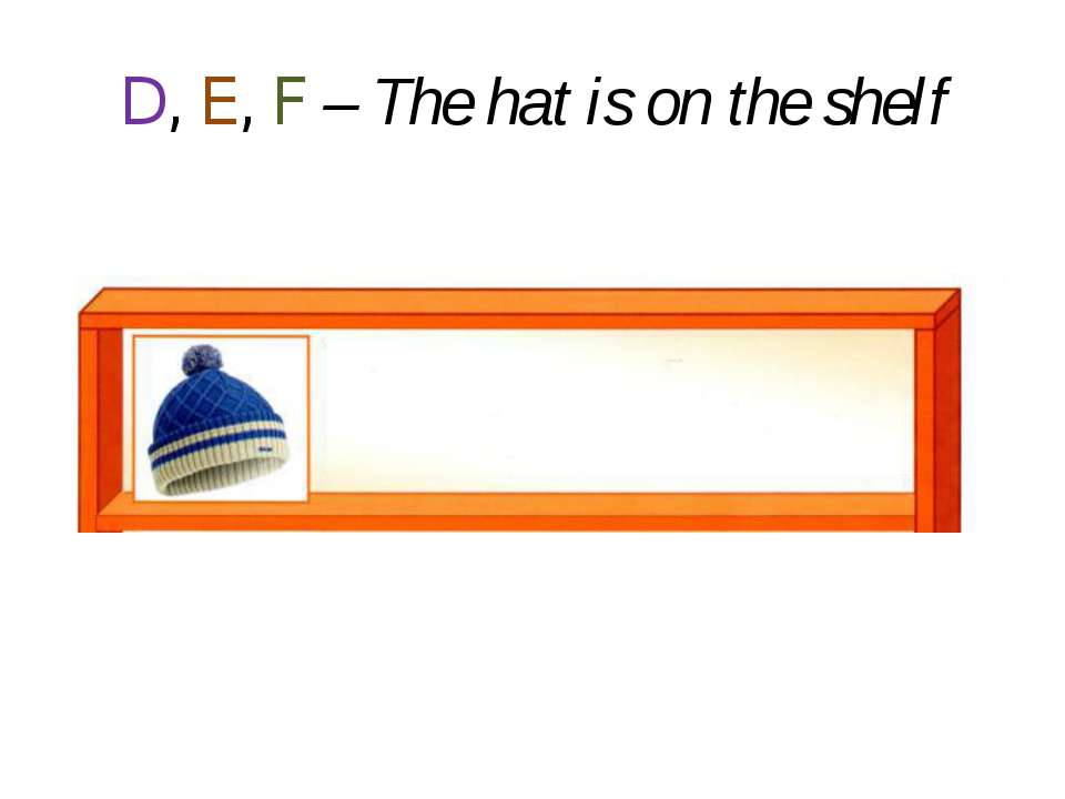 D, E, F – The hat is on the shelf