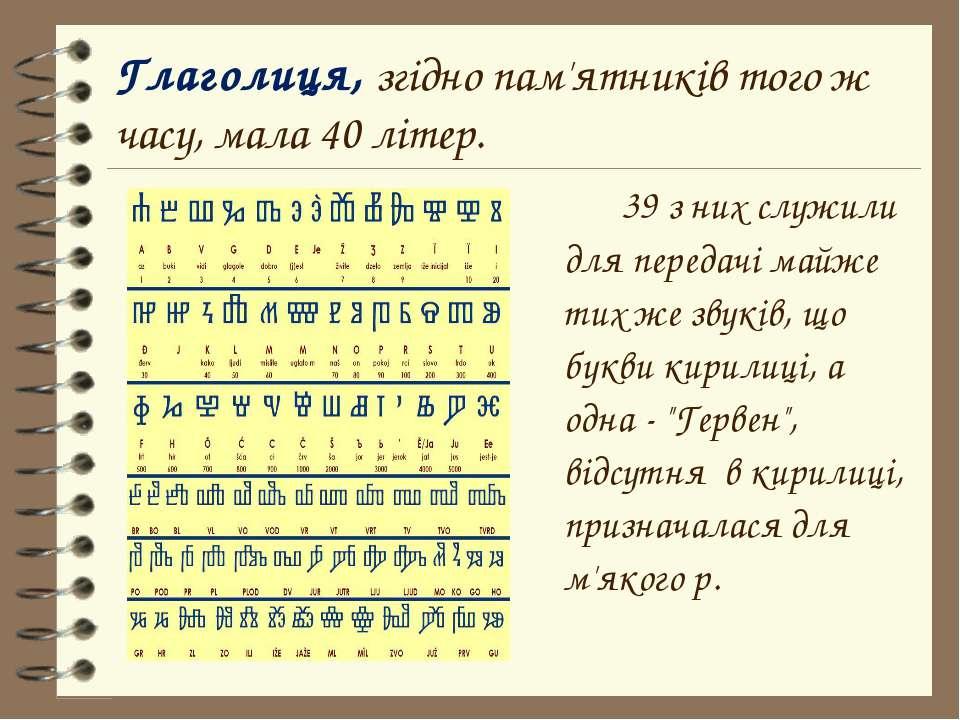 39 з них служили для передачі майже тих же звуків, що букви кирилиці, а одна ...