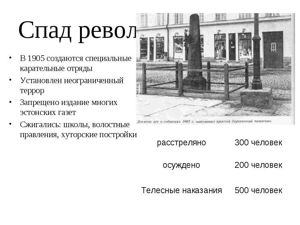 Спад революции: В 1905 создаются специальные карательные отряды Установлен не...