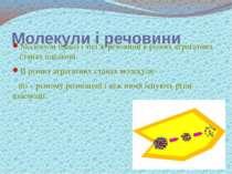 Молекули і речовини Молекули однієї і тієї ж речовини в різних агрегатних ста...
