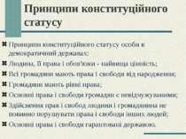 Принципи конституційного статусу Принципи конституційного статусу особи в дем...
