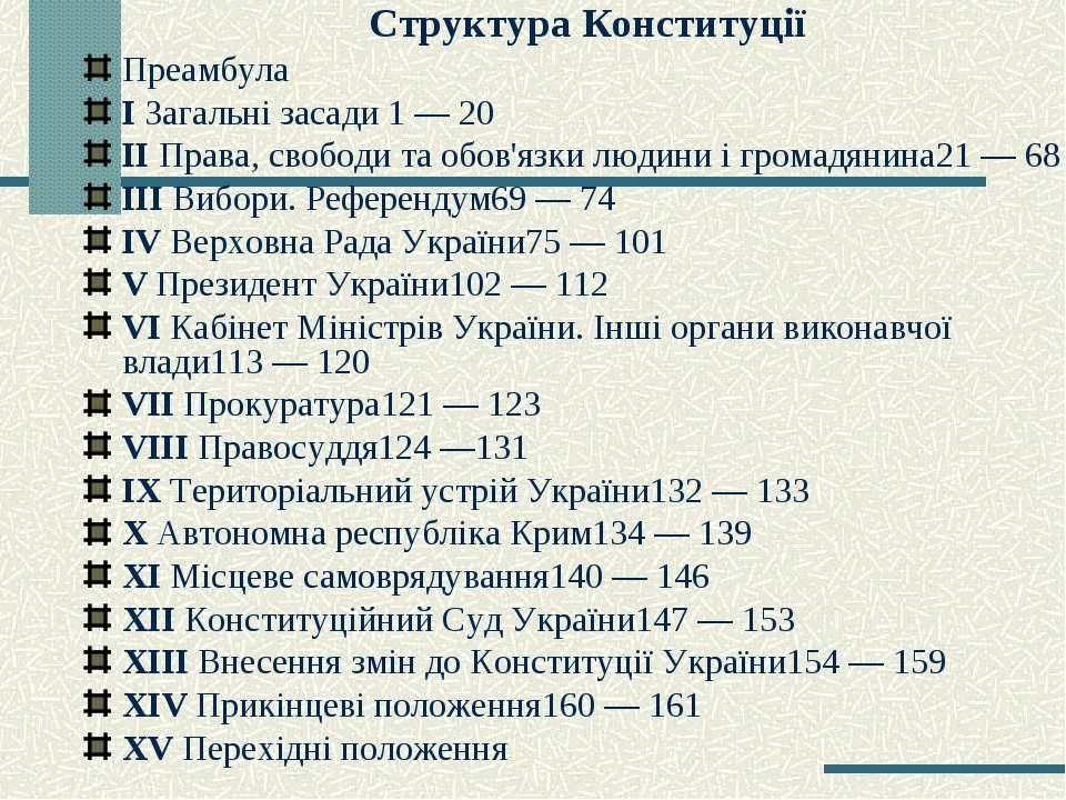 Структура Конституції Преамбула I Загальні засади 1 — 20 IІ Права, свободи та...