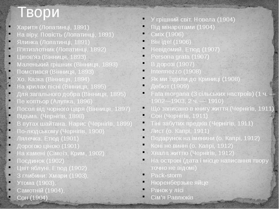 Твори Харитя (Лопатинці, 1891) На віру. Повість (Лопатинці, 1891) Ялинка (Лоп...