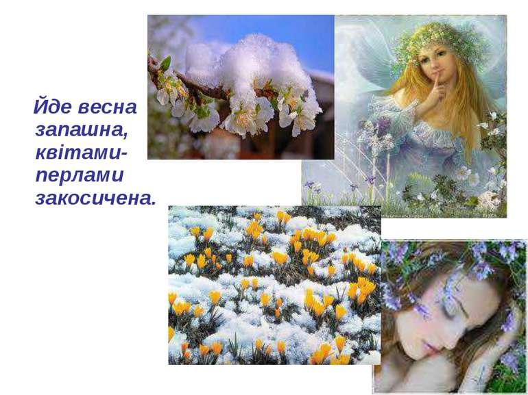 Йде весна запашна, квітами-перлами закосичена.