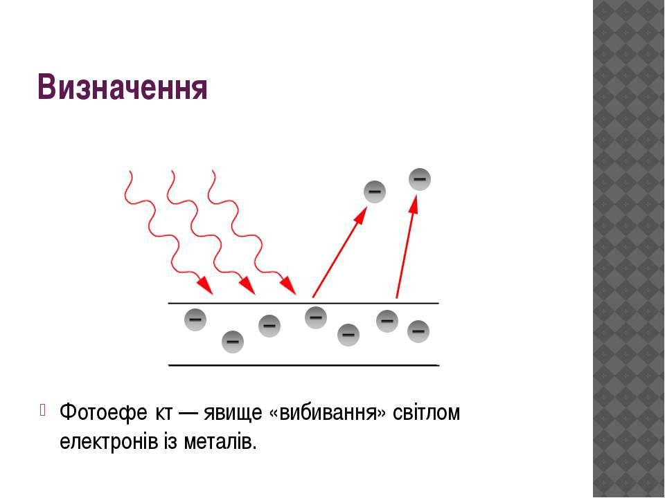 Визначення Фотоефе кт— явище «вибивання» світлом електронівізметалів.