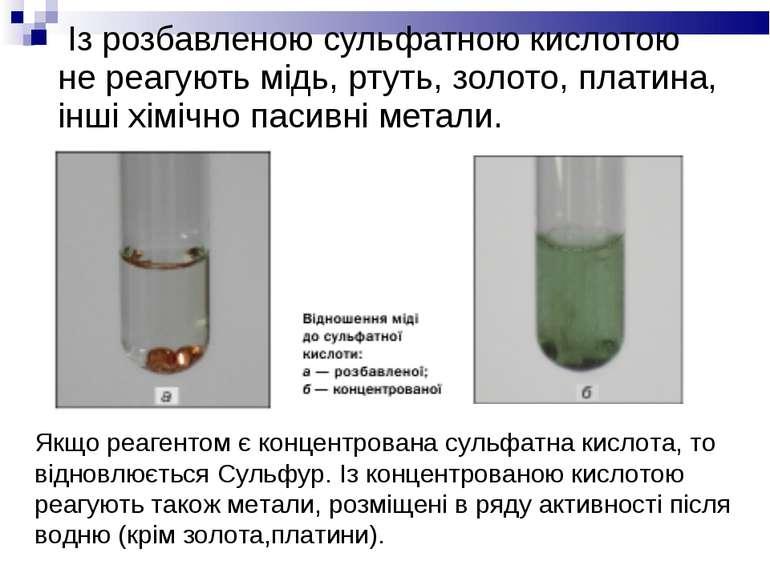 Із розбавленою сульфатною кислотою не реагують мідь, ртуть, золото, платина, ...