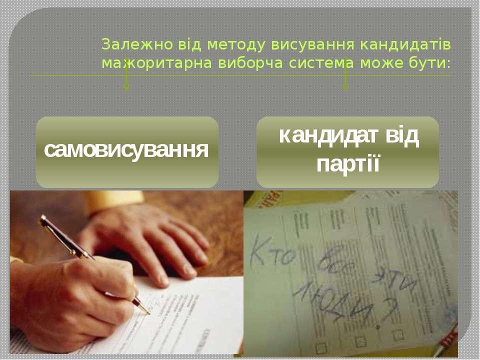 Залежно від методу висування кандидатів мажоритарна виборча система може бути...