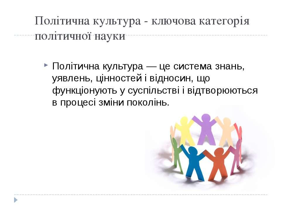 Політична культура - ключова категорія політичної науки Політична культура — ...