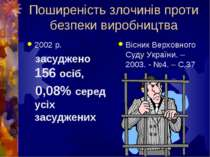 Поширеність злочинів проти безпеки виробництва 2002 р. засуджено 156 осіб, 0,...