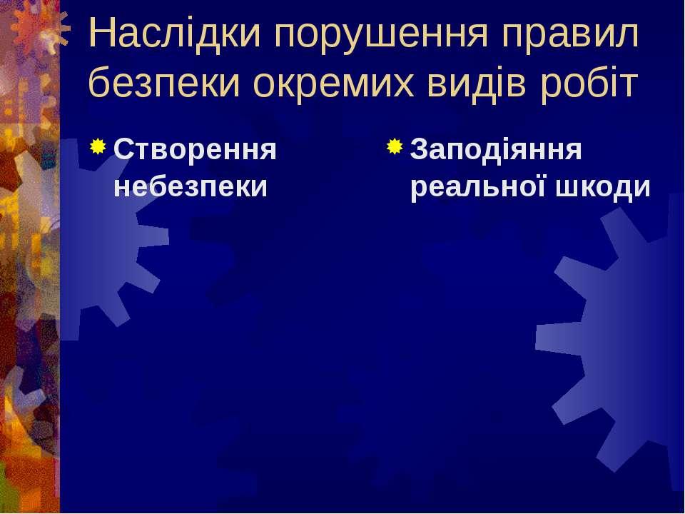 Наслідки порушення правил безпеки окремих видів робіт Створення небезпеки Зап...