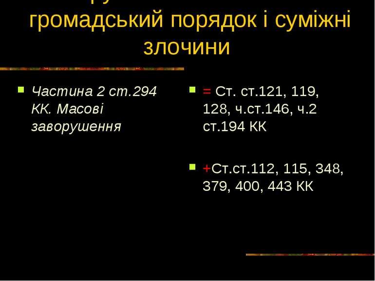 Групові посягання на громадський порядок і суміжні злочини Частина 2 ст.294 К...
