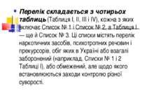 Перелік складається з чотирьох таблиць (Таблиця І, II, III і IV), кожна з яки...