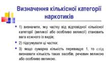 Визначення кількісної категорії наркотиків 1) визначити, яку частку від відпо...