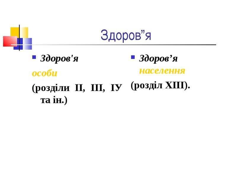 """Здоров""""я Здоров'я особи (розділи ІІ, ІІІ, ІУ та ін.) Здоров'я населення (розд..."""