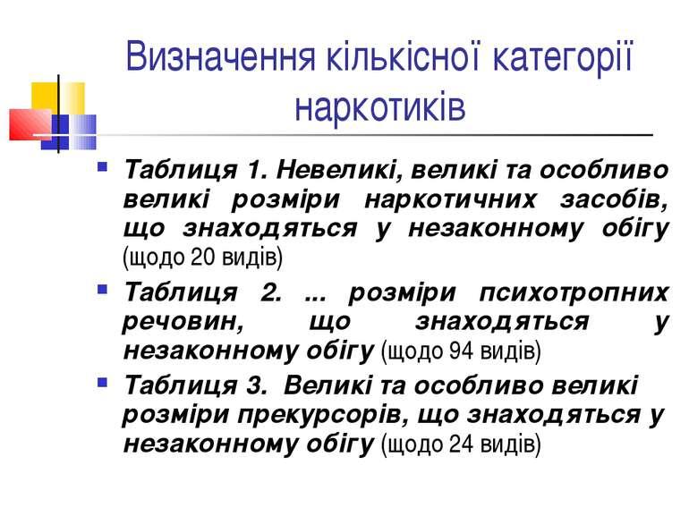 Визначення кількісної категорії наркотиків Таблиця 1. Невеликі, великі та осо...