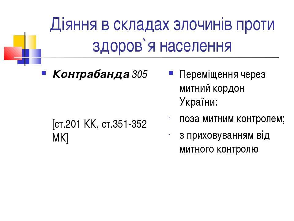 Діяння в складах злочинів проти здоров`я населення Контрабанда 305 [ст.201 КК...