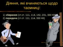 Діяння, які вчиняються щодо таємниці: 1) збирання (ст.ст. 111, 114, 182, 231,...