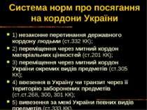 Система норм про посягання на кордони України 1) незаконне перетинання держав...