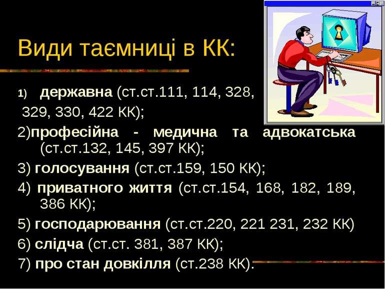 Види таємниці в КК: державна (ст.ст.111, 114, 328, 329, 330, 422 КК); 2)профе...